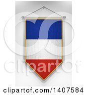 Clipart Of A 3d Hanging French Flag Pennant On A Shaded Background Royalty Free Illustration