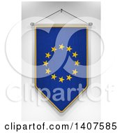 Clipart Of A 3d Hanging European Flag Pennant On A Shaded Background Royalty Free Illustration by stockillustrations