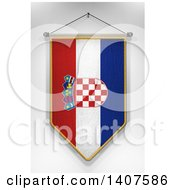 Clipart Of A 3d Hanging Croatian Flag Pennant On A Shaded Background Royalty Free Illustration by stockillustrations