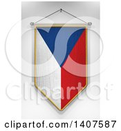 Clipart Of A 3d Hanging Czech Flag Pennant On A Shaded Background Royalty Free Illustration by stockillustrations