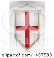 Clipart Of A 3d Hanging English Flag Pennant On A Shaded Background Royalty Free Illustration by stockillustrations