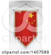 Clipart Of A 3d Hanging Chinese Flag Pennant On A Shaded Background Royalty Free Illustration