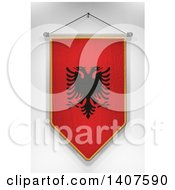 Clipart Of A 3d Hanging Albanian Flag Pennant On A Shaded Background Royalty Free Illustration by stockillustrations