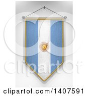 Clipart Of A 3d Hanging Argentine Flag Pennant On A Shaded Background Royalty Free Illustration