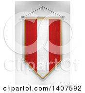3d Hanging Austrian Flag Pennant On A Shaded Background