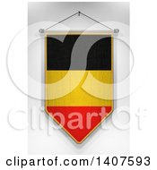 3d Hanging Belgian Flag Pennant On A Shaded Background