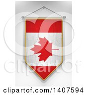 Clipart Of A 3d Hanging Canadian Flag Pennant On A Shaded Background Royalty Free Illustration