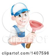 Clipart Of A Young Brunette White Male Plumber Holding A Plunger Around A Sign Royalty Free Vector Illustration