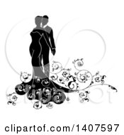 Clipart Of A Black And White Silhouetted Posing Bride And Groom With Swirls Royalty Free Vector Illustration