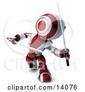 Red And White Ninja Robot Fighting With Katanas Clipart Illustration