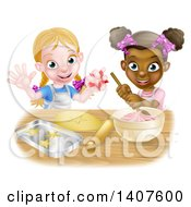 Clipart Of Cartoon Happy White And Black Girls Making Pink Frosting And Star Shaped Cookies Royalty Free Vector Illustration by AtStockIllustration
