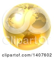 Clipart Of A 3d Shiny Earth Globe Royalty Free Vector Illustration