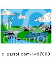 Poster, Art Print Of Cartoon Landscape Of Renewable Energy Plants With A Dam Solar Panels Wind Turbines Coal Plants And Nuclear Plants