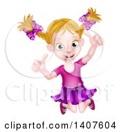 Clipart Of A Happy Blond White Girl Jumping And Giving Two Thumbs Up Royalty Free Vector Illustration by AtStockIllustration