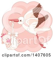 Clipart Of A Happy Baby Girl In A Stork Bundle Over Pink Royalty Free Vector Illustration