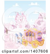 Horses Pulling A Carriage Near A Fairy Tale Castle In A Pink Land