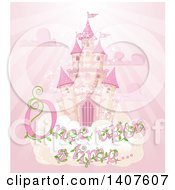Clipart Of A Magical Fairy Tale Castle In The Sky With Once Upon A Time Text Over Pink Rays Royalty Free Vector Illustration