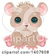 Clipart Of A Cute Brown Hamster With Big Eyes Sitting And Smiling Royalty Free Vector Illustration