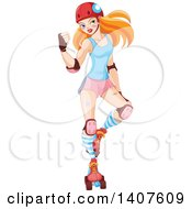 Tough Red Haired Caucasian Roller Derby Woman Flexing Her Biceps