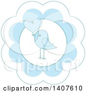 Clipart Of A Cute Baby Bird Design In A Blue Flower With A Heart Royalty Free Vector Illustration