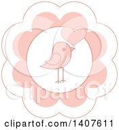 Poster, Art Print Of Cute Baby Bird Design In A Pink Flower With A Heart