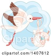Clipart Of A Happy Baby Boy In A Stork Bundle Over Blue Royalty Free Vector Illustration