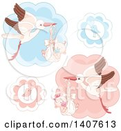 Clipart Of Cute Storks Flying Babies Birds Announcing Genders Royalty Free Vector Illustration by Pushkin