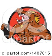 Cartoon Furious Muscular Boar Roaring And Beating His Chest Emerging From A Black And Red Circle