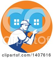 Clipart Of A Retro Male Mover Carrying A House In An Orange And Blue Circle Royalty Free Vector Illustration