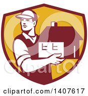Clipart Of A Retro Male Mover Holding A House In A Maroon And Yellow Shield Royalty Free Vector Illustration by patrimonio