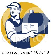 Clipart Of A Retro Male Mover Holding A House In A Yellow Circle Royalty Free Vector Illustration by patrimonio