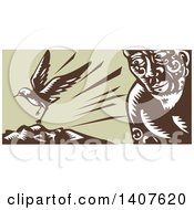 Clipart Of A Retro Woodcut Of A God Tagaloa Looking At His Plover Bird Daughter Landing On A Treeless Island Royalty Free Vector Illustration