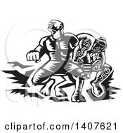 Clipart Of A Black And White Retro Woodcut Scene Of Samoan Tiitii Wrestling The God Of Earthquake And Breaking His Arm Royalty Free Vector Illustration