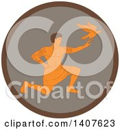 Clipart Of A Retro Scene Of A Samoan God Tagaloa Kneeling And Releasing His Plover Bird Daughter In A Brown Circle Royalty Free Vector Illustration by patrimonio