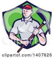 Clipart Of A Retro Cartoon Male Construction Worker Holding A Pickaxe And Emerging From A Green And Blue Shield Royalty Free Vector Illustration