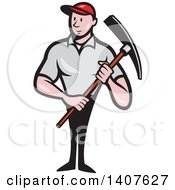 Clipart Of A Retro Cartoon Male Construction Worker Holding A Pickaxe Royalty Free Vector Illustration