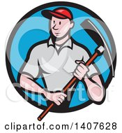 Clipart Of A Retro Cartoon Male Construction Worker Holding A Pickaxe And Emerging From A Black And Blue Circle Royalty Free Vector Illustration