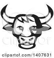 Clipart Of A Retro Grayscale Bull Head Royalty Free Vector Illustration
