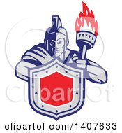 Retro Angry Greek Warrior Holding A Flaming Torch And Shield