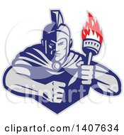 Retro Angry Greek Warrior Holding A Flaming Torch With A Balled Fist