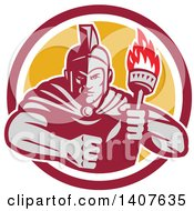 Clipart Of A Retro Angry Greek Warrior Holding A Flaming Torch With A Balled Fist In A Red White And Yellow Circle Royalty Free Vector Illustration by patrimonio