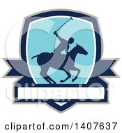 Clipart Of A Silhouetted Polo Player On Horseback Swinging A Mallet In A Shield Over A Banner Royalty Free Vector Illustration