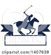Clipart Of A Silhouetted Polo Player On Horseback Swinging A Mallet Over A Banner Royalty Free Vector Illustration