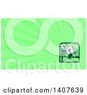 Clipart Of A Retro Male Marital Arts Fighter Kicking And Wading In A Swamp And Green Rays Background Or Business Card Design Royalty Free Illustration by patrimonio
