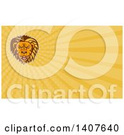 Clipart Of A Retro Angry Roaring Male Lion Head And Orange Rays Background Or Business Card Design Royalty Free Illustration
