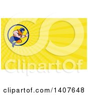 Clipart Of A Gridiron American Football Player Running With The Ball And Yellow Rays Background Or Business Card Design Royalty Free Illustration
