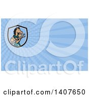 Clipart Of A Cartoon Mechanic Horse Holding A Wrench And Blue Rays Background Or Business Card Design Royalty Free Illustration