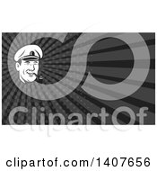 Clipart Of A Retro Black And White Sea Captain Smoking A Pipe And Gray Rays Background Or Business Card Design Royalty Free Illustration by patrimonio