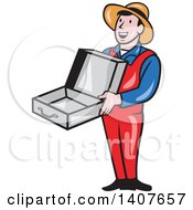 Clipart Of A Retro Cartoon Man Wearing A Hat And Overalls Smiling And Holding An Empty Open Suitcase Royalty Free Vector Illustration by patrimonio