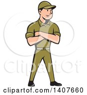 Clipart Of A Retro Cartoon Tradesman In A Green Uniform Standing With Folded Arms Royalty Free Vector Illustration